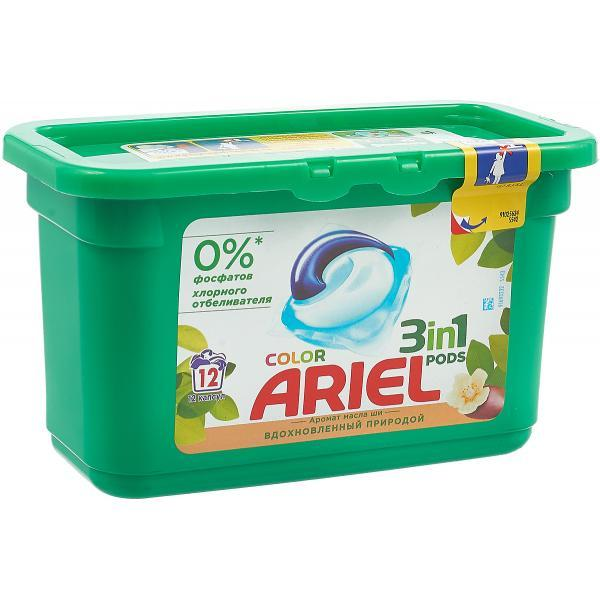 """Капсулы для стирки Ariel """"Color. Масло Ши"""", 12 шт"""