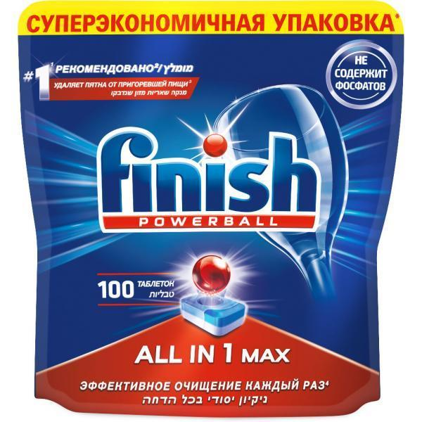 Таблетки для посудомоечной машины Finish AllinOne бесфосфатные, 100 шт