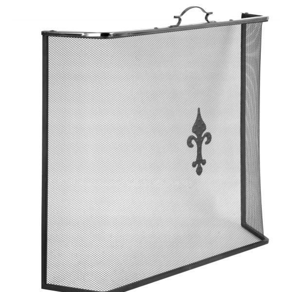 Экран каминный Fire97ASK, 1 створка, цвет чёрный/серебро