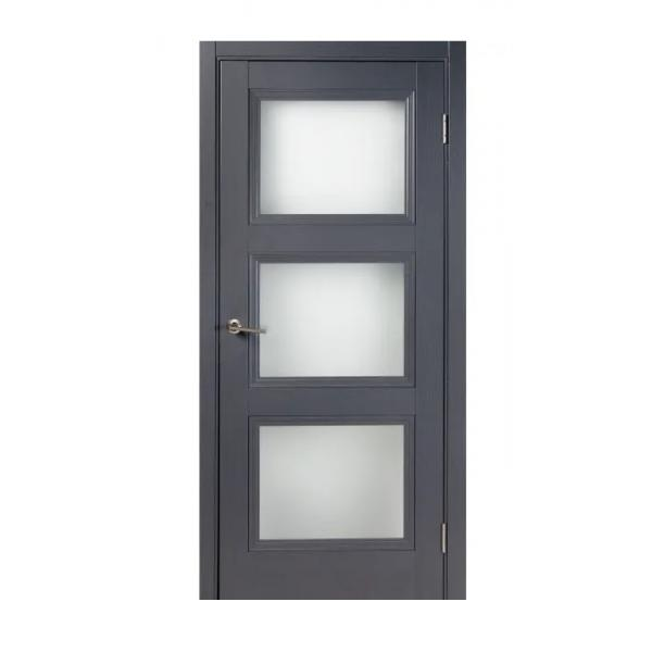 Дверь межкомнатная остеклённая с замком и петлями в комплекте Трилло 70x200 см экошпон цвет грей