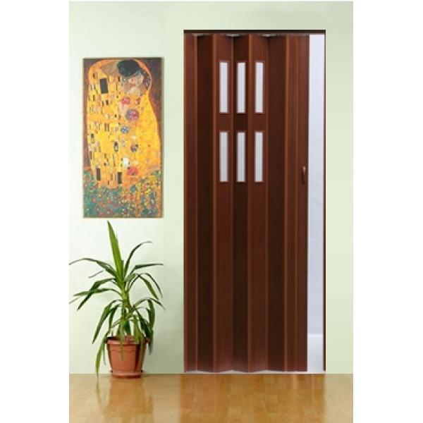 Дверь складная Pioneer Glass, темный орех, остекленная,