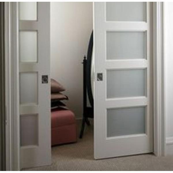 Раздвижная дверь Беленый дуб с матовым сатинатом